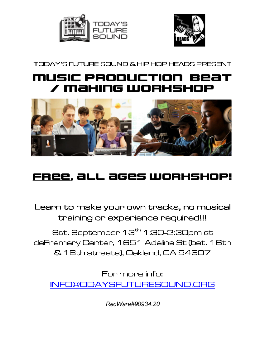 TFS deFremery Beat Making Workshop Flyer